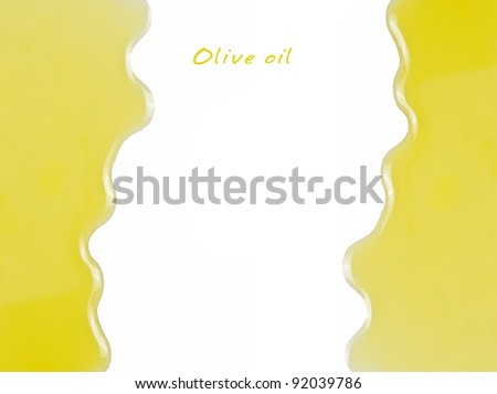 Olive oil on a white surface with a central copy space. - stock photo