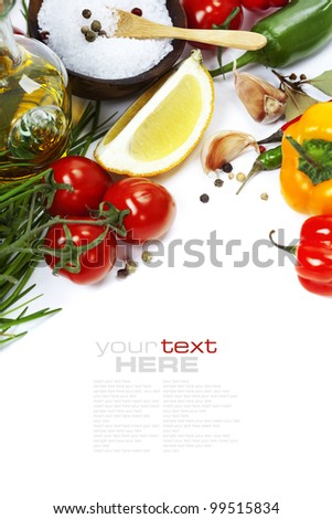Olive oil, pepper, salt and  fresh vegetables, herbs and spices (with easy removable sample text)