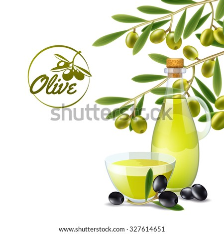 Olive oil pourer with branch of green olives decorative background poster print abstract  illustration