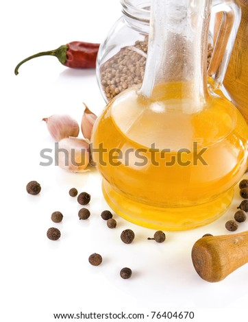olive oil, spices, healthy food isolated on white background