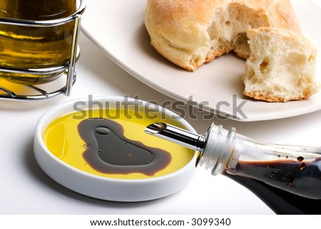 Olive oil with balsamic vinegar and fresh bread