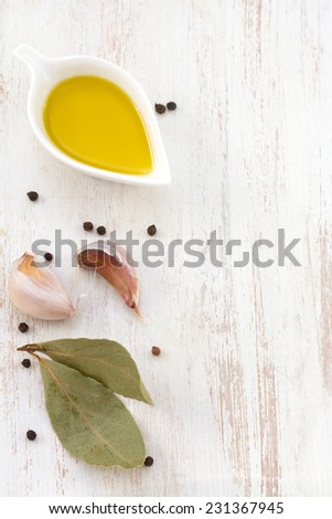 olive oil with garlic and pepper - stock photo