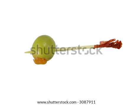 Olive on a pick on white background