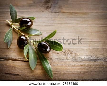 Olive over Wood Background - stock photo