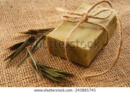 olive soap - stock photo