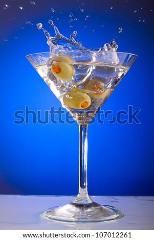 olive splash - stock photo