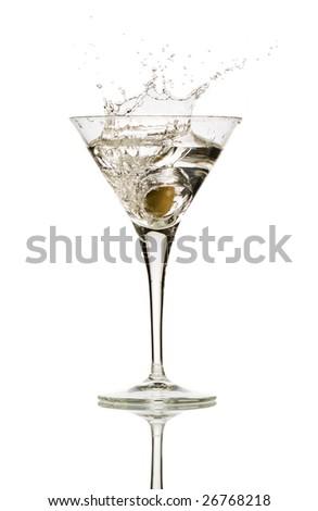 Olive splashing on martini isolated on white stock photo - stock photo