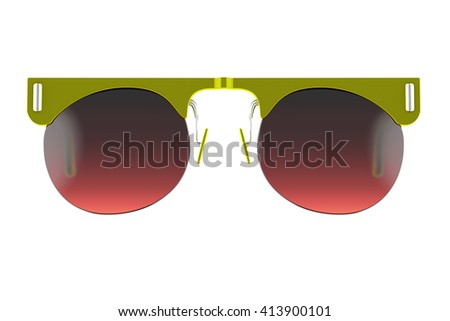 Olive sunglasses isolated on white background. With clipping path. 3D render - stock photo