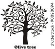 Olive tree full of black olives isolated on white background.  Illustration - stock vector