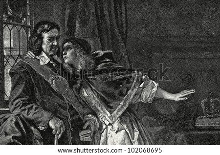 "Oliver Cromwell and his daughter Elizabeth. Engraving by Bong  from picture by  Schrader. Published in magazine ""Niva"", publishing house A.F. Marx, St. Petersburg, Russia, 1899"