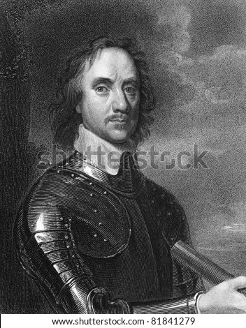 Oliver Cromwell (1599-1658). Engraved by E.Scriven and published in The Gallery Of Portraits With Memoirs encyclopedia, United Kingdom, 1837. - stock photo