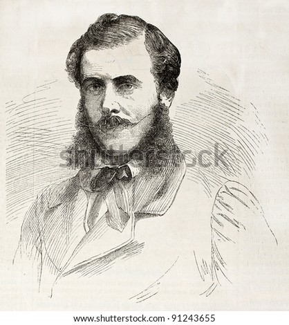 Oliver Des Brulais old engraved portrait, French physician. By unidentified author, published on L'Illustration, Journal Universel, Paris, 1858 - stock photo