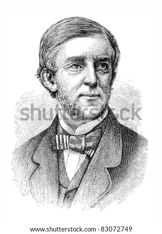 Oliver Wendell Holmes, Sr. (1809-1894) was an American physician, professor, lecturer, and author. Engraving by unknown artist from Harper's Monthly Magazine, january 1876.