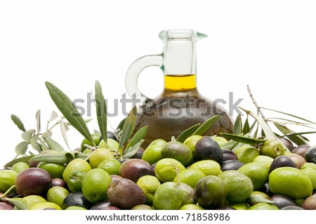 olives and oil - stock photo