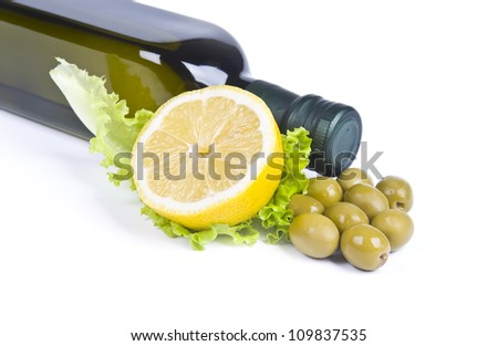 olives and olive oil bottle over white background - stock photo
