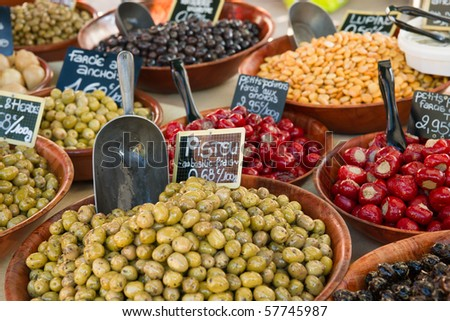 Olives and peppers - stock photo