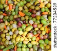 olives and pickles texture food pattern mediterranean style - stock photo