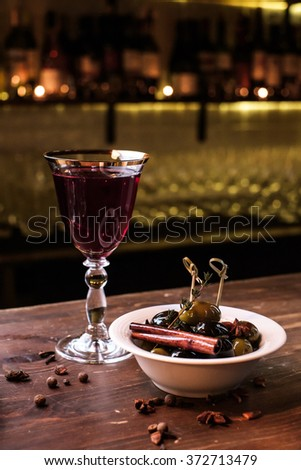 Olives and red Wine - stock photo