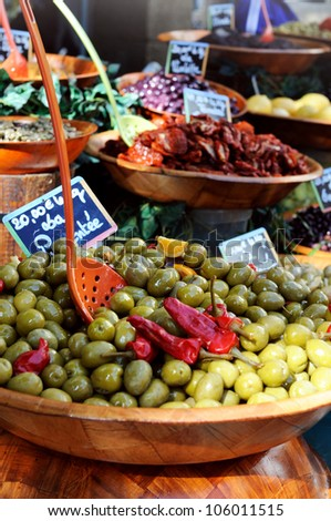 Olives for sale at a market - stock photo