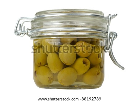 olives in a glass jar isolated on white background - stock photo