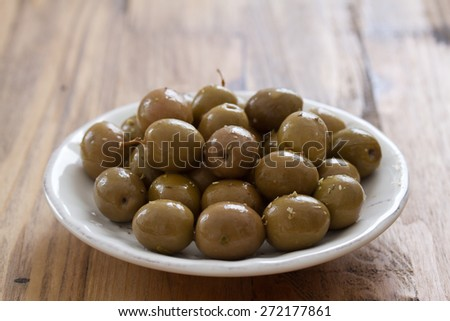 olives in plate - stock photo