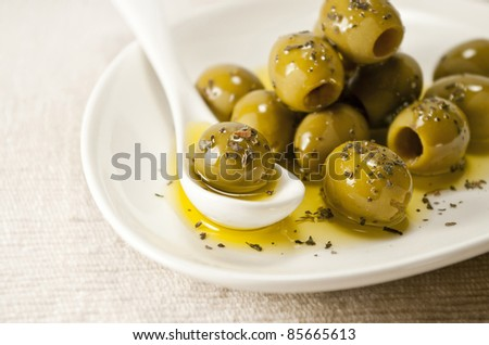 olives on a plate - stock photo