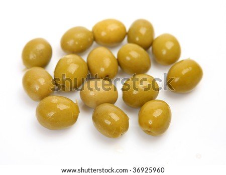 Olives on a white background