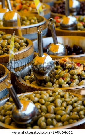 Olives on the market in Spain. - stock photo