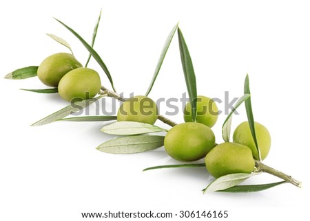 olives on the white background - stock photo