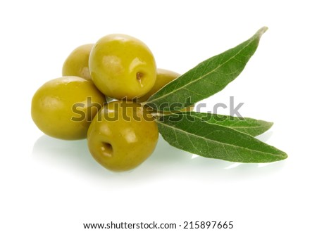 Olives on twig isolated on white background - stock photo
