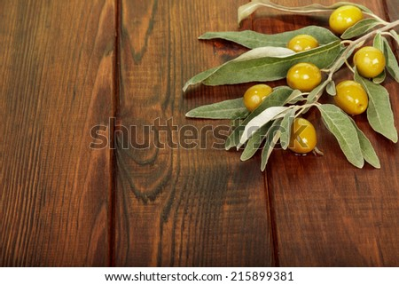 Olives twig on dark wooden table background