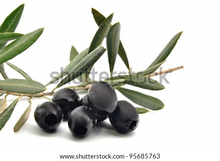 Olives with olive leaves