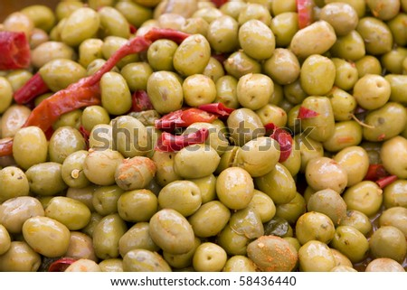 Olives with pepper.