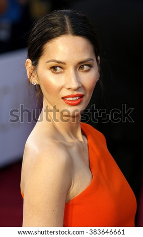 Olivia Munn at the 88th Annual Academy Awards held at the Hollywood & Highland Center in Hollywood, USA on February 28, 2016. - stock photo