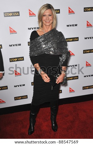 Olivia Newton-John at the 2010 G'Day USA Australia Week Black Tie Gala at the Grand Ballroom at Hollywood & Highland. January 16, 2010  Los Angeles, CA Picture: Paul Smith / Featureflash - stock photo