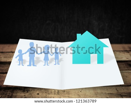ollection of various blank white paper on wood background - stock photo
