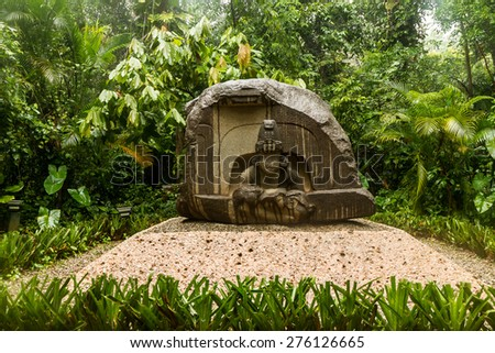 Olmec basalt altar - Villahermosa, Mexico - stock photo