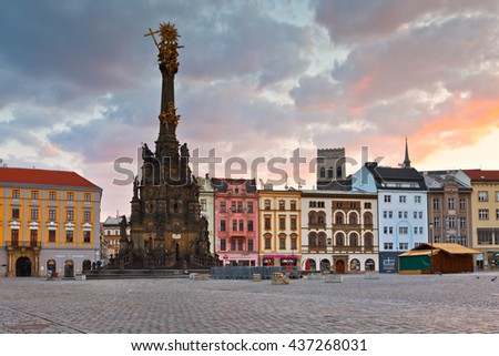 Olomouc, Czech Republic - June 05, 2016: Holy Trinity Column in the main square of the old town of Olomouc, Czech Republic.