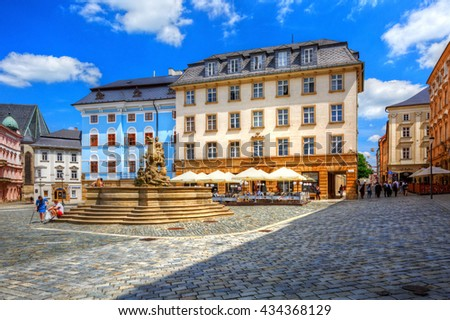 Olomouc, Czech Republic - June 04, 2016: One of the main squares in the old town of Olomouc, Czech Republic. HDR image.
