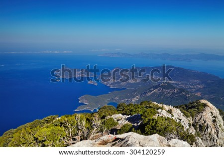 Oludeniz coast, Fethiye, Turkey, view from Babadag mountain, very popular place for paragliding - stock photo