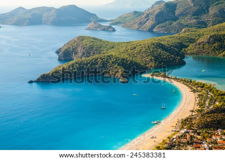 oludeniz lagoon in sea landscape view of beach, Turkey - stock photo