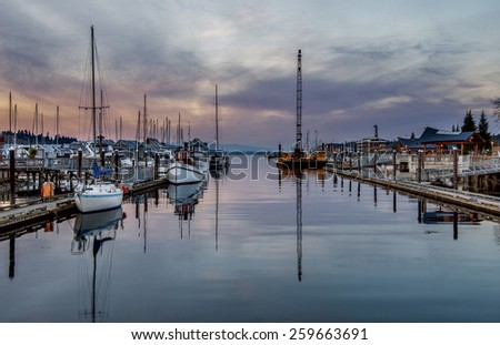 Olympia Marina. Olympia, WA USA - Mach, 8 2015. Waterfront Park is the most popular tourism attraction in Olympia, WA.