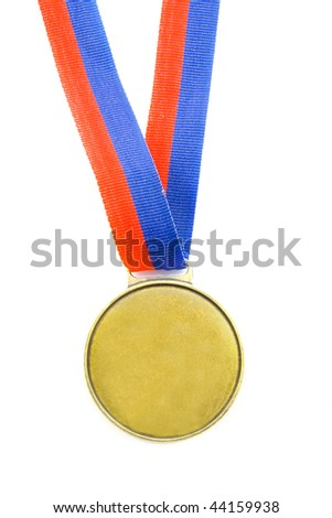 Olympic medal with red and blue isolated over white - stock photo