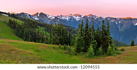 Olympic Mountain Range Sunrise - stock photo