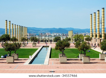 Olympic stadium, Passage Minici Natal, Barcelona, Catalonia,Spain - stock photo