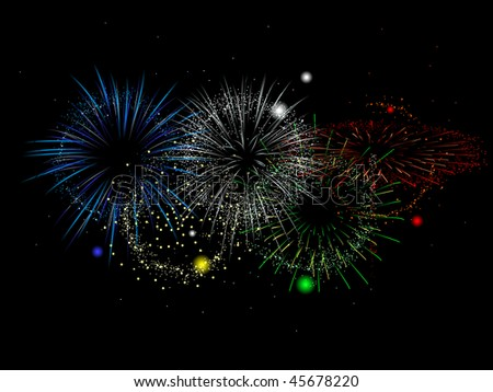 Olympics colored fireworks - raster
