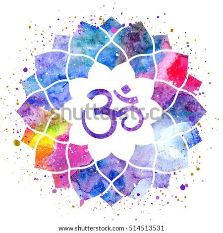 Om sign lotus flower rainbow watercolor stock illustration 514513531 om sign in lotus flower rainbow watercolor texture and splash isolated spiritual buddhist mightylinksfo
