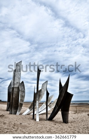 Omaha Beach was one of the landing area of the Normandy Invasion of World War II - stock photo