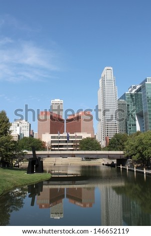 OMAHA, NEBRAKSA-AUGUST 11: View of the Omaha, NE skyline, a city which has recently hosted many international events including the US Senior Open and Olympic Swim trials as seen on August, 11th 2012.