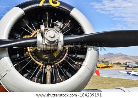 "OMAKA-APRIL 03:American Harward aircraft on the display during the royal New Zealand air force ""Omaka airshow"" on April 03, 2013 in Blenheim New Zealand - stock photo"